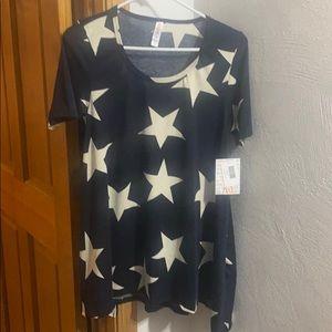 LuLaRoe DBlue Stars Tee NWT size L